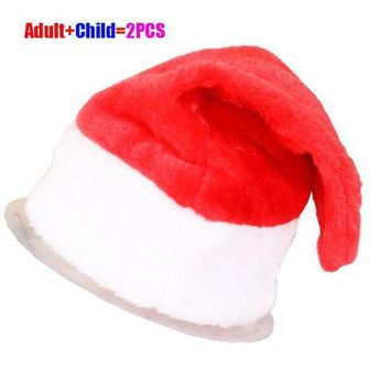 ac NOOW2 2Pcs/Set Christmas Party Santa Hat Red And White Cap for Santa Claus Costume New