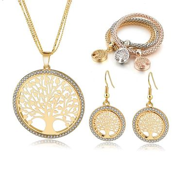 Gold Tree of Life Jewelry Set for Women Necklace Earrings Bracelets Set