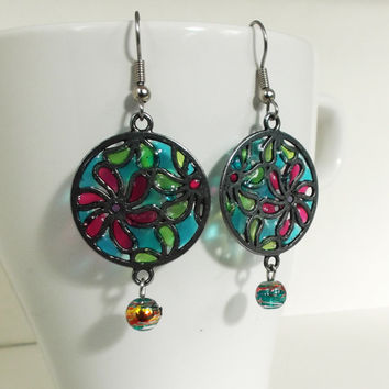 Faux Stained Glass Earrings - mother's day, gift for her, girlfriend, sister, teenager, geek, spring, easter