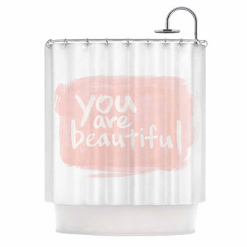 "Qing Ji ""Brush Lettering Beautiful"" Peach White Shower Curtain"