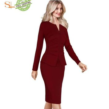 Front Zip Up Pleated Ruched Peplum Long Sleeve dress