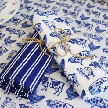 Blue Striped Cotton Napkins Pack Of Four