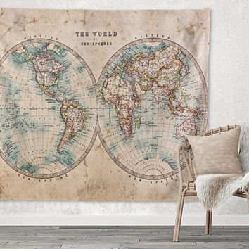 Global Double World Retro Map  Trendy Boho Wall Art Home Decor Unique Dorm Room Wall Tapestry Artwork
