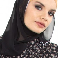 Black Chiffon Oblong Wrap Hijab with Contrast Edge - Islamic hijabs - Islamic hijab fashion at Artizara.com