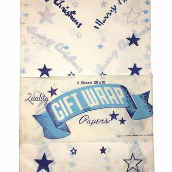 Vintage New Merry Christmas Quality Gift Wrap Paper Blue White Pioneer Wrapper