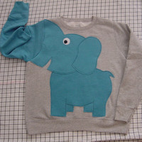Elephant Trunk sleeve sweatshirt sweater jumper LADiES L light grey and peacock blue