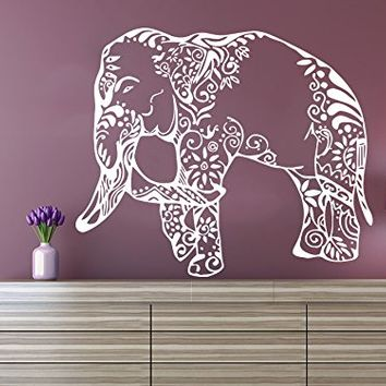 Wall Decal Elephant Vinyl Sticker Decals Lotus Indian Elephant Floral Patterns Mandala Tribal Buddha Ganesh Om Home Decor Bedroom Art Design Interior NS568