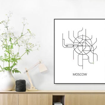 Moscow Subway Map Print Moscow Metro Map Poster,Subway Map Print,Vintage Map Retro,Metro Map Poster,MAP,Subway Map,Black & White Metro Lines