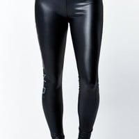 Diamond Supply Co Stone Cut Faux Leather Liquid Leggings - Womens Pants - Black