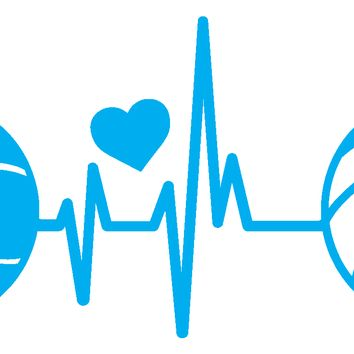 (2) TWO Heartbeat Basketball/Volleyball with Heart Decal Stickers