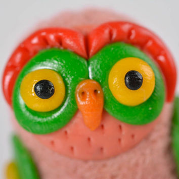 Handmade wool felted unique figurine designer interior decoration owl toy