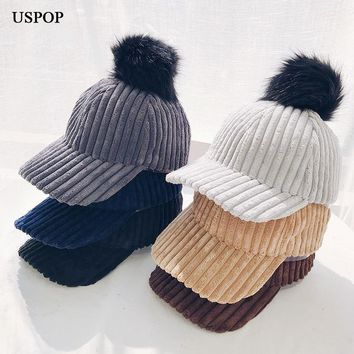 Trendy Winter Jacket USPOP 2018 newest women fashion solid color corduroy baseball cap female casual pompom visor cap winter thick warm hat AT_92_12