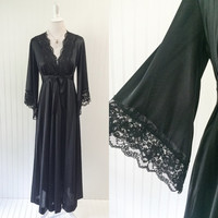 1970s black nylon & lace lingerie robe huge angel sleeves goth maxi // plunging bust boho gypsy boudoir // size S