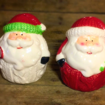 Santa in Cable Knit Sweater Salt & Pepper Shakers