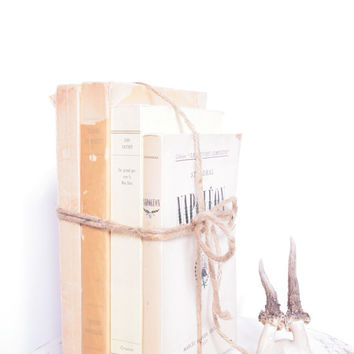 Distressed Large French Softback Book Bundle that Have Been Wrapped with Twine