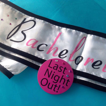 Bachelorette Sash & Pin White Satin Rhinestone elements for some BLING! Bridal Gift Bridal Shower Fun Wishing Well Gift Wedding Bride Bridal