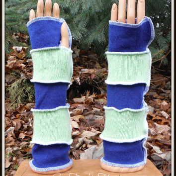 Arm Warmers Fingerless Gloves Made From Recycled Sweaters Cashmere & Wool Seattle Seahawks Inspired