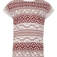 WHITE & BURGUNDY PATTERNED PRINTED T-SHIRT - Men's T-Shirts & Vests - Clothing - TOPMAN