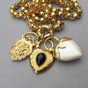 Chunky Joan Rivers Interchangeable Heart Charm Pendants Long Rolo Vintage Necklace, Book Piece!