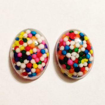 Resin Cabochons Flatbacks - Sprinkles Resin in Rainbow Colors