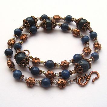 Dumortierite Gemstone Copper and Czech Glass Necklace