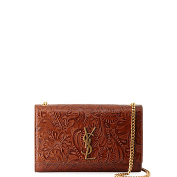 Saint Laurent Monogram Kate Embossed Leather Shoulder Bag
