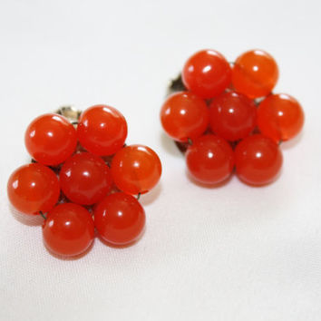 Vintage Carnelian Cluster Earrings Clip on 1950s Jewelry
