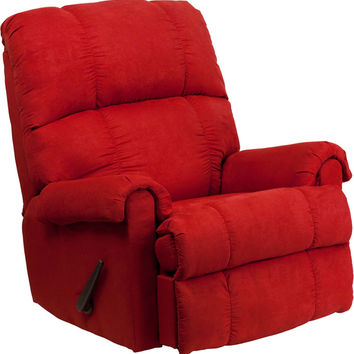 Contemporary Flat Suede Red Rock Microfiber Rocker Recliner