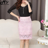 High Waist Bodycon Skirt 2016 Lace Womens Skirts Female Black Saia Curta Feminino Vintage Ladies pencil skirt in wedding New