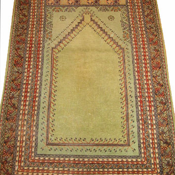 Sale Traditional Prayer Design Turkish Vintage Rug 6'1'' x 3'11'' Free Shipping