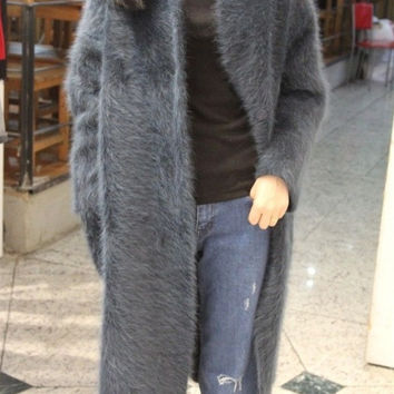(custom) Korea Plush mink cashmere coat thick mink knitted sweater long paragraph cardigan