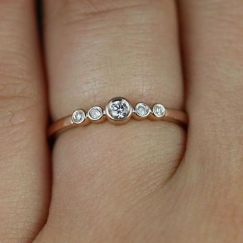 Bubbly 14kt Rose Gold Round Bezel Diamond Stack Band (Other Metals and Stone Options Available)