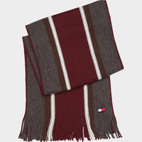 TOMMY HILFIGER GRAY AND BURGUNDY SCARF