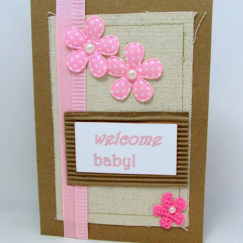 Welcome Baby - New Baby Card - Baby Girl Card - Congratulations on New Baby - Baby Shower - Pink Flowers - Kraft Card - Blank - Canvas Panel