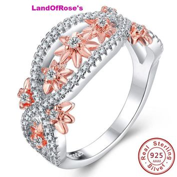 925 Sterling Silver Wedding with rose gold color flower Lady Infinity Ring Gift