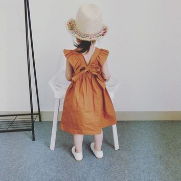 Kids Baby Girls Bowknot Dress Ruffles Bow Clothing Pumpkin Clothes Dresses for Kids Dress Brown Cute 1-5 Years Children Clothing