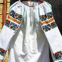 Ethnic Folk Peasant Beaded Embroidered Blouse Traditional Ukrainian Blouse Hippie Handmade Blouse Green Blue Yellow Floral Motifs
