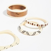 Mixed Wood Bangle Set