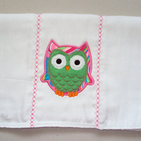 Owl burp cloth embroidered in applique of pinks and greens. Can be personalized for an extra charge.