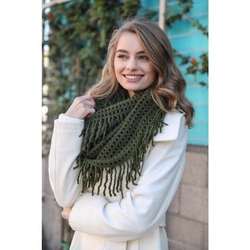 Chenille Fringe Infinity Scarf in Olive