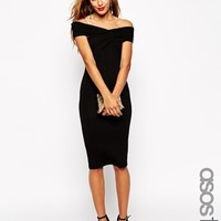 ASOS TALL Bodycon Dress With Bardot Shoulder and Cross Front Detail