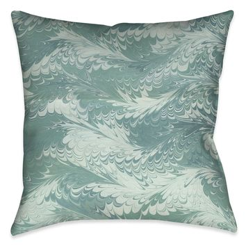 Pastel Mint Marble Outdoor Decorative Pillow