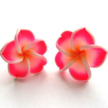 Frangipani Plumeria Neon Pink and Tangerine by SovereignSea