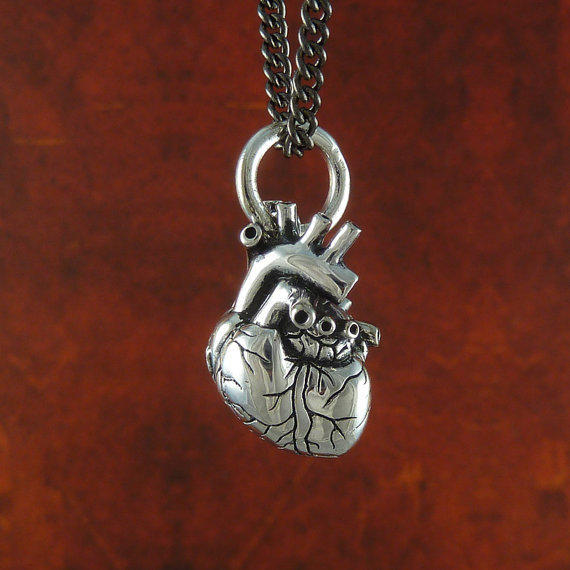 """Small Anatomical Heart Necklace Antique Silver Small Anatomical Heart Pendant on 24"""" Gunmetal Chain"""