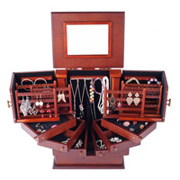Large Wooden Jewellery Box Armoire Cabinet Earring Organizer 7 Drawers Mirror