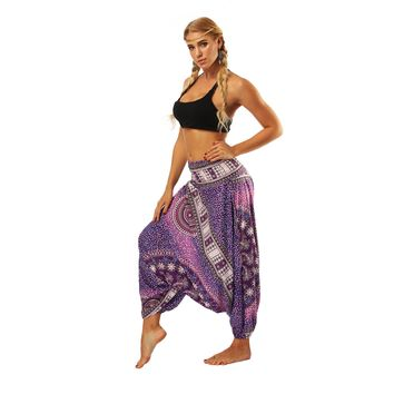 Yoga Pants Women Loose Comfortable Quick Dry Workout Bloomers Thai Middle Waist Big Crotch Indian Nepalese Floral Sport Beach