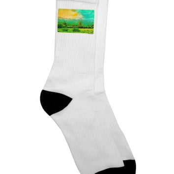 Mountain Sunset Watercolor Adult Crew Socks
