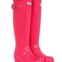 Festival Fluoro Tall Neon Pink Hunter Wellies at Coggles.com online store