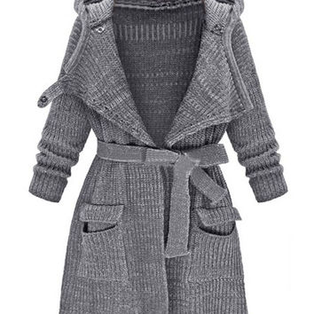 Gray Hood Neck Tie Waist Pocket Detail Long Sleeve Knit Coat