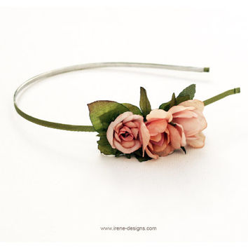 Flower Girl Headband. Hair  Floral. Wedding Flower Girl Headband